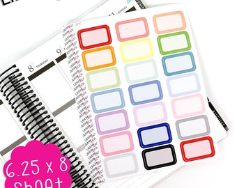 LS254 Pale Rounded Corner Half Box Planner Stickers.  Set of 21 Appointment Boxes, Agenda, Calendar, Happy, Erin Condren Life Planners!!!