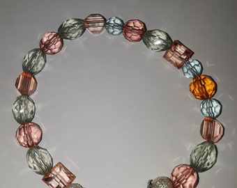 Pastel beaded bracelet with silver ends