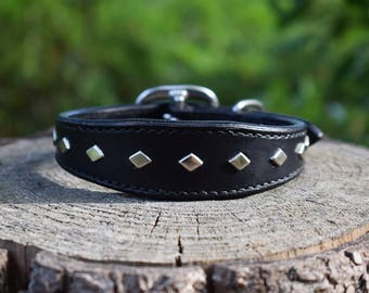 Studded Leather Dog Wide Collar with Diamond Studs - size S