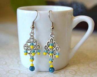 Blue/Yellow Bohemian Beaded Dangle Earrings