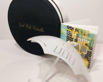 Good Wish Umbrella® Bridal | baby Shower Time-Honored Beribboned Novelty and Generational Memoir Guide-Book 3 Piece Gift Set (Black-White)