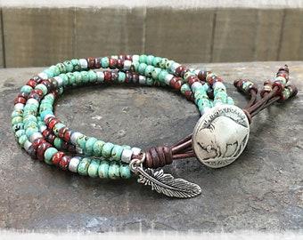 Beaded Wrap Bracelet/ Native American Bracelet/ Boho Wrap Bracelet/ Southwestern Leather Wrap Bracelet/ Bohemian Bracelet/ Gift For Her.