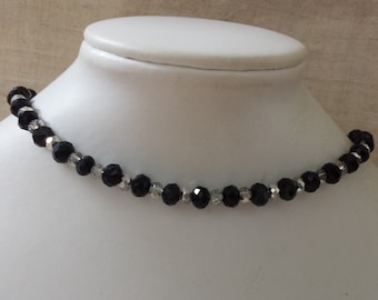 """""""black and transparent silver pearls"""" Choker necklace"""