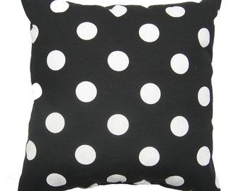 Black White Pillow, 20x20 inch, Indoor / Outdoor Decorative Pillow Cover, Black Pillow, Polka Dot Pillow, Polka Dot Black, Deck Patio Pillow