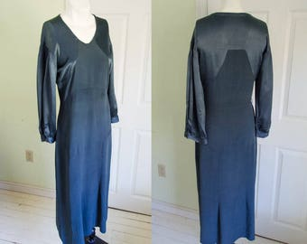 Vintage Woman's Grey Blue Silk 1930's Great Gatsby Dress