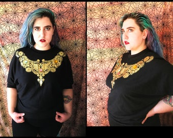 GRANDMA GOTH Metallic Gold foil gem sweatshirt / sweater with batwing sleeves