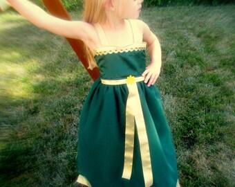 Merida Costume Dress: Brave Battle Dress, green & gold, easy on and off tutu, birthday princes party, dinner, halloween costume, adjustable
