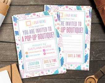 Boho Invitation Cards, Free Personalize, Home Office Approved, Pop-Up Boutique Party Invitation, Launch Party, For Fashion Retailer