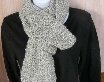 Hand Knitted Gray Scarf-Clouds