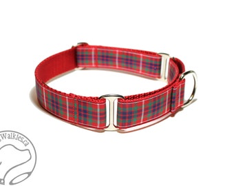 """Fraser Clan Tartan Dog Collar - 1"""" (25mm) Wide - Outlander Tartan - Red Plaid - Martingale or Side Release Buckle - Choice of size & style"""