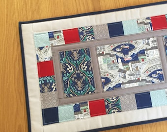 Nautical table runner, quilted table runner, patchwork table topper, modern table runner, coastal table runner, fabric table centrepiece