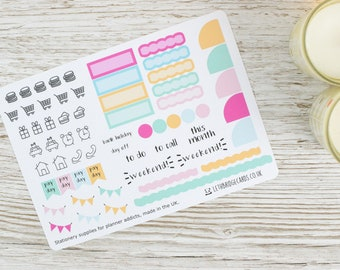 Hobonichi Monthly Planner Stickers; Ice Cream Kit; Monthly Sticker Kit; Hobonichi Techo Cousin Sticker