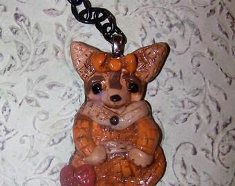 Whimsical Folk Art Chihuahua Dog Ooak Mosaic Style Key Chain Clay