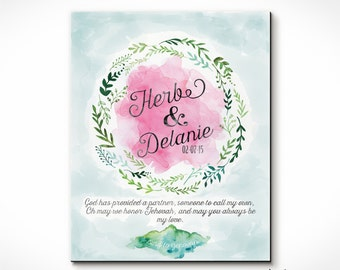 Watercolor Anniversary or Wedding Print Customized for YOU! Names, Date, Quote from song or Scripture. Perfect Gift. Invitations As Well