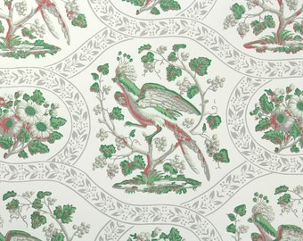 1950s Vintage Wallpaper by the Yard - Nancy McClelland Birds Branches and Flowers, Green and White Botanical