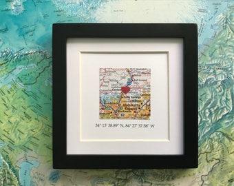 Framed Map & GPS Coordinates - Custom Map Gift - Latitude Longitude - Engagement Gift - Gallery Wall Art - 5x5 Frame - Graduation Gift