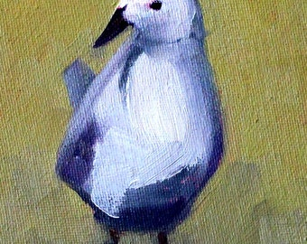 Gull, Water Bird, Small Animal Portrait, Oil Painting, Blue White Feathers, Seagull, 4x6 Original, Canvas, Little Tiny, Wall Decor, Art