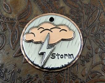 Custom Storm Dog ID Tag-Pet Collar ID Tag-Dog Storm ID Tag-Storm Keychain Fob or Luggage Tag
