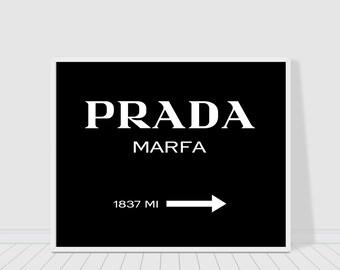 Prada Marfa print black version, Gossip girl, fashion and beauty print, chic print, wall decor, typography print poster, instant download