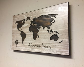 Adventure Awaits Decor, Nursury room, Carved world map wall art, wooden world map, Vintage wood map, rustic, travel decor, New Baby Gift