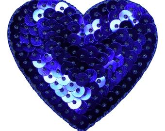 Violet Sequin Heart Applique Patch (Iron on)