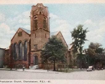 Vintage Hand Tint Photo Post Card Zion Presbyterian Church Charlottetown, PEI - 62 Postmarked Wood Islands North (no stamp)