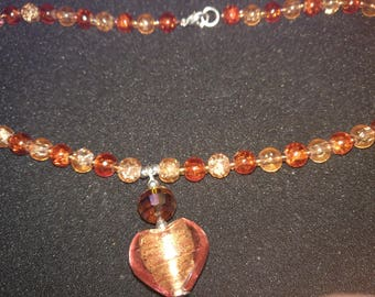 203. Beaded Heart Pendant Necklace