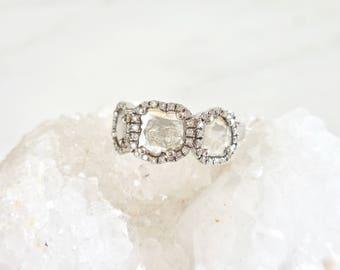 Triple Diamond Slice Ring - Unique Engagement Ring, Handmade Engagement Ring, Modern, 3 Diamond Ring, Diamond Halo, Wedding Ring