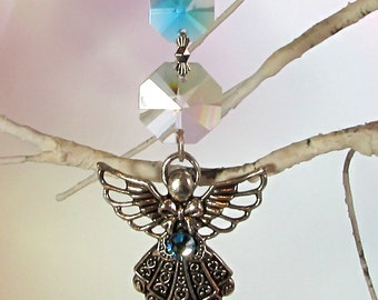 Aqua Angel Christmas Ornament & Crystal Sun Catcher, 1S-61