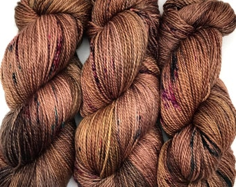 "Hand Dyed Yarn ""Smoking Jacket"" Brown Khaki Grey Tan Chestnut Gold Purple Teal Speckle Merino Fingering SW 408yds 115g"