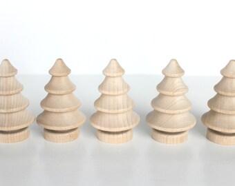 "6 Wood Christmas Trees   2-3/4"" Dimensional Tree   Set of 6"
