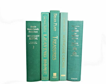 Teal Green BOoks, Decorative Books, Wedding Centerpiece, Old Book Set,  Book Decor, Antique BOok Collection,  country chic
