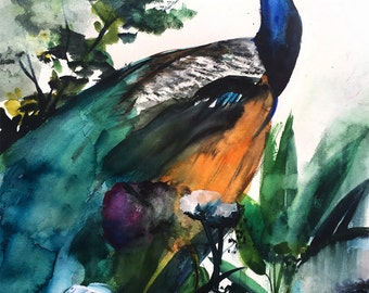 Watercolor Painting - Peacock Garden - Bird Wall Decor Watercolor - Flowers - Floral - Tropical - Landscape - Large Print 24x36 - Poster