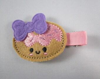 Sprinkle donut doughnut felt embroidered hair clip