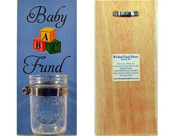 Wooden Wall Change Jar 10x5 Sign - Baby Fund - Blue