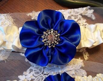 Royal Blue Wedding Garter Set, Vintage style Rhinestone Center, Bridal Garter Set, Royal Blue Wedding