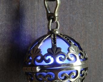 Blue Glowing Pendant Necklace Ornate orb Infinity Stones Locket Antique Bronze, Fairy glow Jewelry