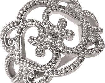 Custom Solid Sterling Silver, 14 Karat or 18 Karat White or Yellow Gold Granulated Design Ring