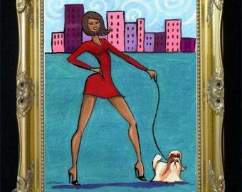 Shih Tzu Dog Print, African American Art, Black Woman, Giclee Print, Pet Lover Gift, Cityscape Illustration, Puppy Artwork,Doggy Print Shano