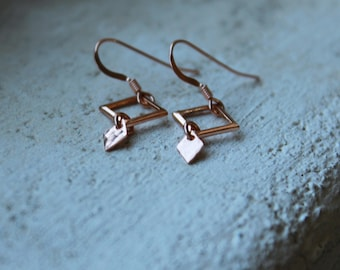 ROSE Gold Dangly Earrings Rose Gold Filled Earrings rose gold jewelry simple dangle earrings geometric jewelry elegant earrings pink gold