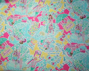 """Lilly Pulitzer~ fabric ~""""IN THE BEGINNING""""~ 18"""" by 18""""~ 100%   cotton Beach Twill"""