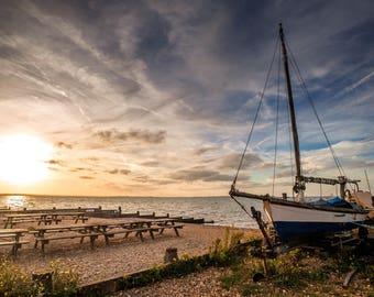 A1, A2, A3 canvas or A1, A2, A3 or A4 framed photo of Boat on Beach