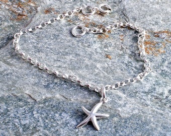 Starfish ankle bracelet sterling silver 925 charm chain ankle bracelet star fish