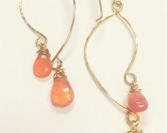 Pink Opal Teardrop Earrings