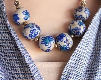 Blue and White Porcelain Print Necklace / Floral Beads Statement Necklace / Handmade Porcelain Beaded Jewelry / Asian Ming Inspired Beads