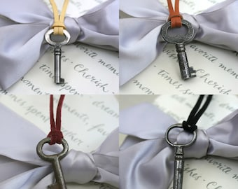 Skeleton Key necklace with choice of deerskin or suede