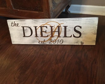 7.5 x 24 Name sign with Initial background.