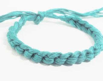 10 Teal Bracelets Crocheted Ovarian Cancer Awareness Color Bracelet  - Qty 10 Custom colors - School team colors
