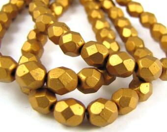 Matte Metallic Antique Gold 6mm Facet Round Czech Glass Fire Polished Beads #123