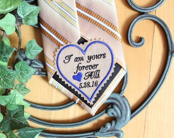 Groom Gift from the Bride, TAN Tie Patch, Custom Groom tie patch, personalize heart patch, Heart Label, embroidered, wedding gift, THS26